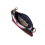 Maroon Pattern Smell Proof Water Resistant Small Zipper Bank Bag Interior