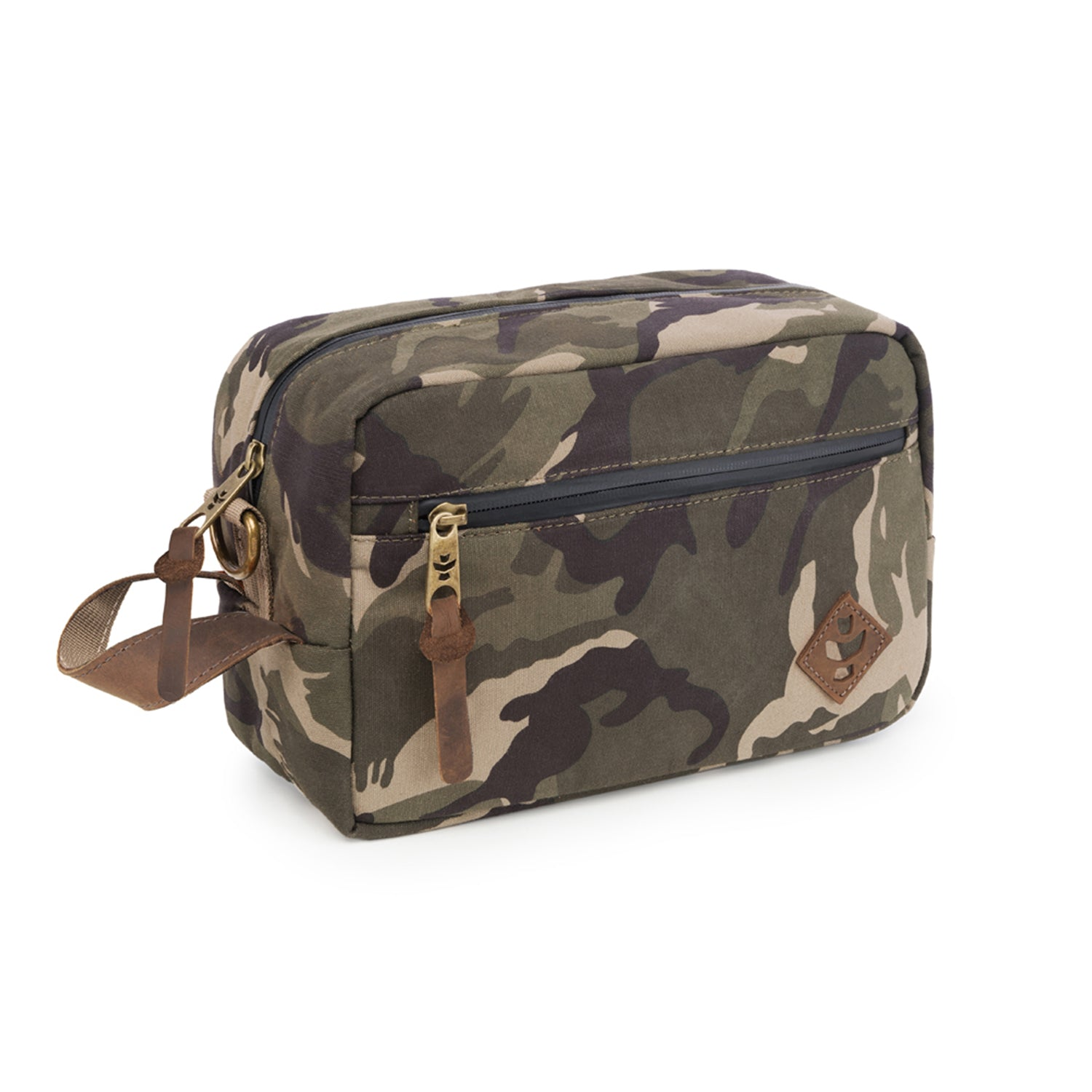 Camo Brown Canvas Smell Proof Water Resistant Toiletry Dopp Kit Bag