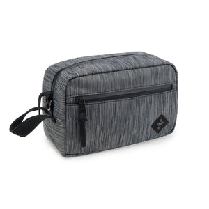 Dark Striped Grey Nylon Smell Proof Water Resistant Toiletry Dopp Kit Bag
