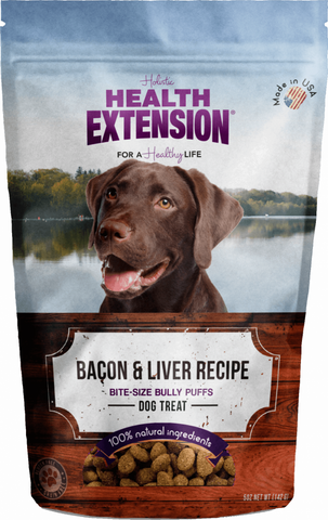 Health Extension Bully Puffs Bacon and Liver Dog Treats