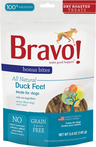 Bravo! Bonus Bites Duck Feet Dry-Roasted Dog Treats - 5 oz