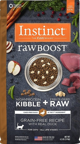 Nature's Variety Instinct Raw Boost Grain Free Recipe with Real Duck Natural Dry Cat Food - 4.5 lb