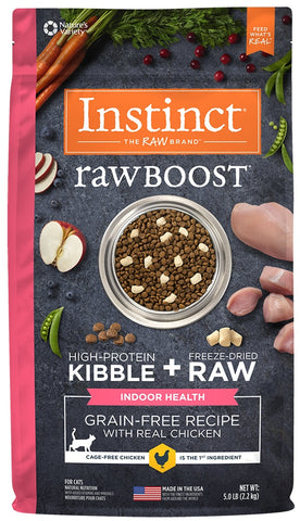 Nature's Variety Instinct Raw Boost Indoor Health Grain Free Recipe with Real Chicken Natural Dry Cat Food - 5 lb