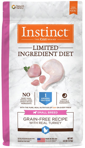Nature's Variety Instinct Limited Ingredient Diet Small Breed Adult Grain Free Real Turkey Recipe Natural Dry Dog Food - 4 lbs