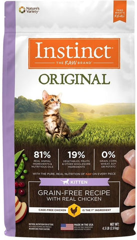 Nature's Variety Instinct Original Kitten Grain Free Recipe with Real Chicken Natural Dry Cat Food - 4.5 lb