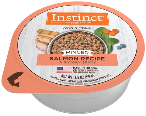 Nature's Variety Instinct Adult Grain Free Minced Recipe with Real Salmon Natural Cat food Cups - Case of 12