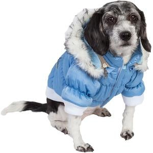 Pet Life Metallic Blue Fashion Parka Insulated Dog Coat with Removable Hood
