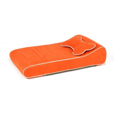 Contour Memory Foam Lounger - Tangerine Microtwill