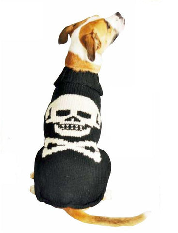 Chilly Dog Black Skull Knit Dog Sweater