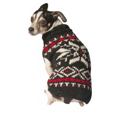 Chilly Dog Black Snowflake Knit Dog Sweater
