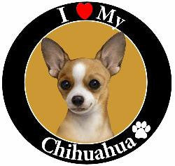 Chihuahua (White/tan) Decal Magnet