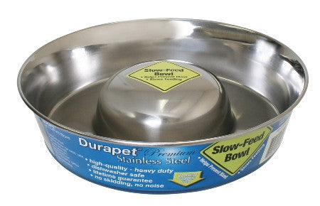 Durapet Slow Feed Stainless Steel Bowl