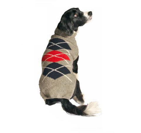 Chilly Dog Argyle Knit Dog Sweater - Grey