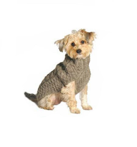 Chilly Dog Cable Knit Dog Sweater - Grey