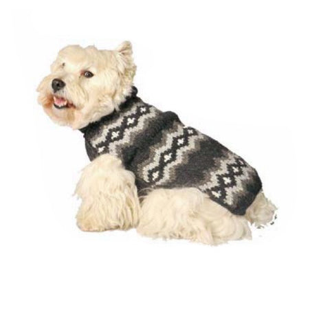Chilly Dog Diamonds Knit Dog Sweater - Grey