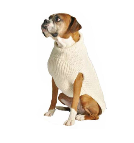 Chilly Dog Cable Knit Dog Sweater - Natural