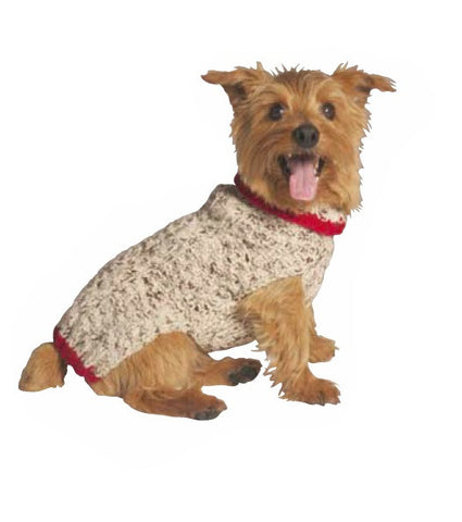 Chilly Dog Cable Knit Dog Sweater - Oatmeal
