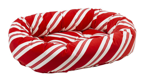 Bowsers Holiday Donut Bed Peppermint Stripe Microvelvet
