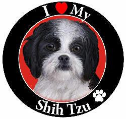 Shih Tzu (Black/White, Puppy Cut ) Decal Magnet