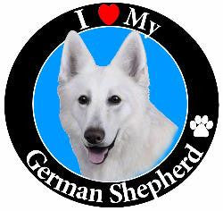 German Shepherd (White) Decal Magnet