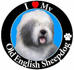 Old English Sheepdog Decal Magnet