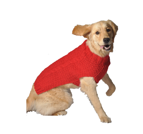 Chilly Dog Cable Knit Dog Sweater - Red