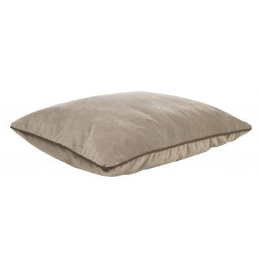 Designer Rectangle Taupe Microvelvet (taupe bottom, cowboy piping)