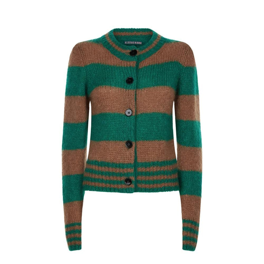 Cardigan With Gathers Atshoulder Green/Brown