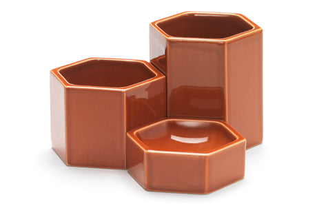 Hexagonal Containers (Rusty Orange Package of 3)