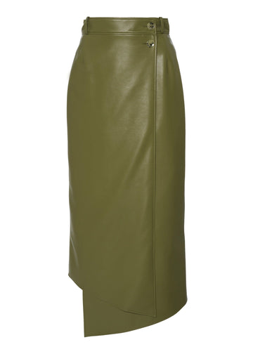 Lucilla Faux Leather Wrap Skirt Moss
