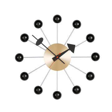 Ball Clock Black/ Brass (330mm)