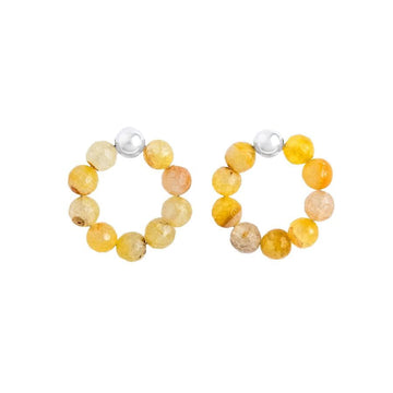 Agate Rainbows Hoops, Yellow Shades Silver