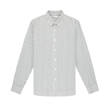 LS Shirt Adrian Striped Oxford Olive Grn Strip