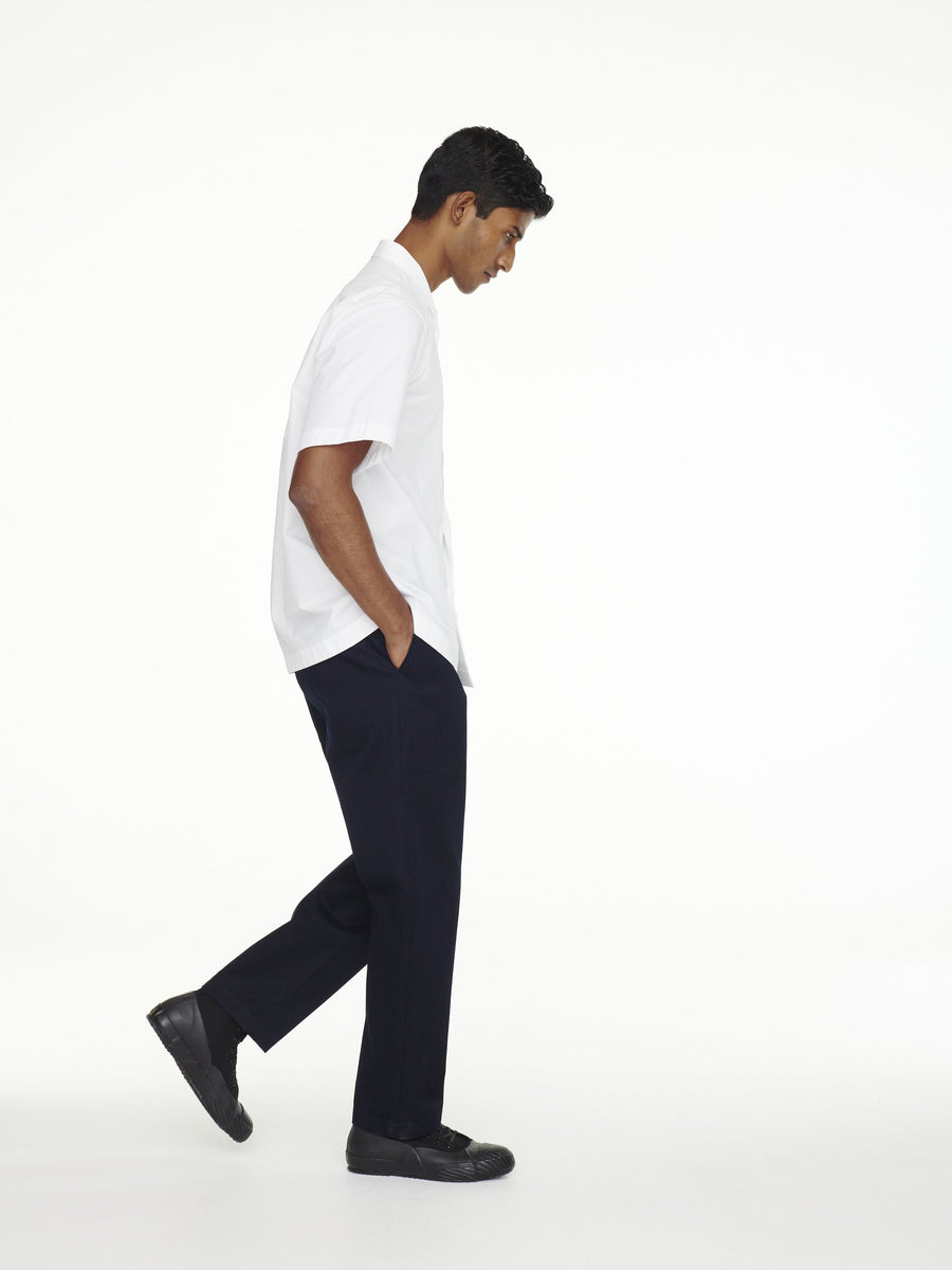 Flat Front Tapered Pant Dark Navy