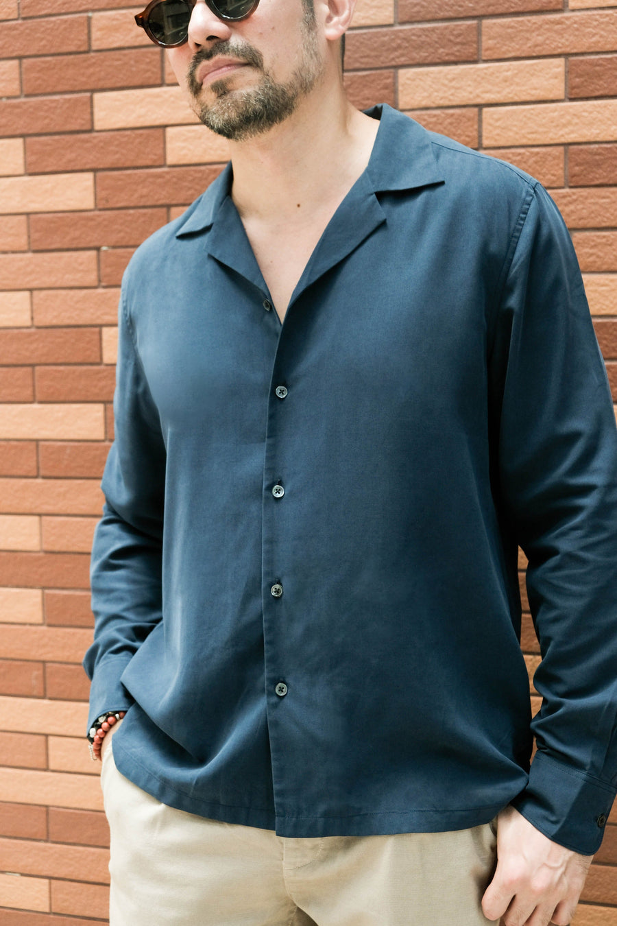 LS Shirt Rockaway Long Sleeve Silk Navy