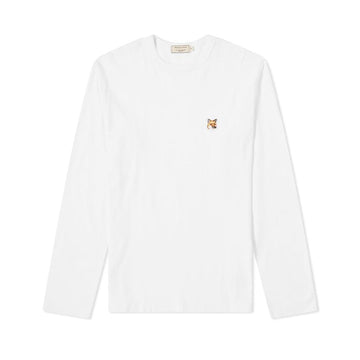 Long Sleeve Tee-Shirt Fox Head Patch White (Women)