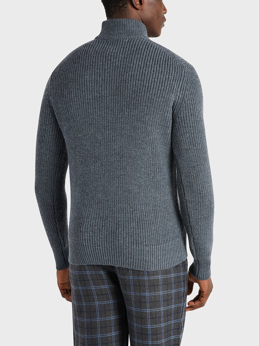 AW20 LS Sweater Acton Mock Neck Charcoal H.