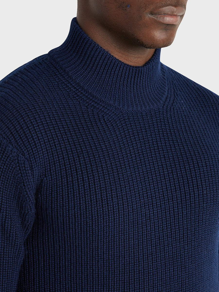 AW20 LS Sweater Acton Mock Neck Navy H.