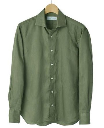Spread Collar Linen Plain Green