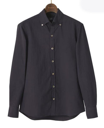 Button Down Collar Seersucker Plain Blue