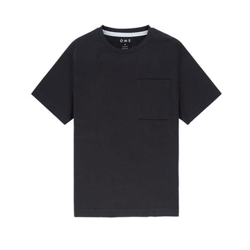 SS Tee Baseile Pocket Crew Neck Black