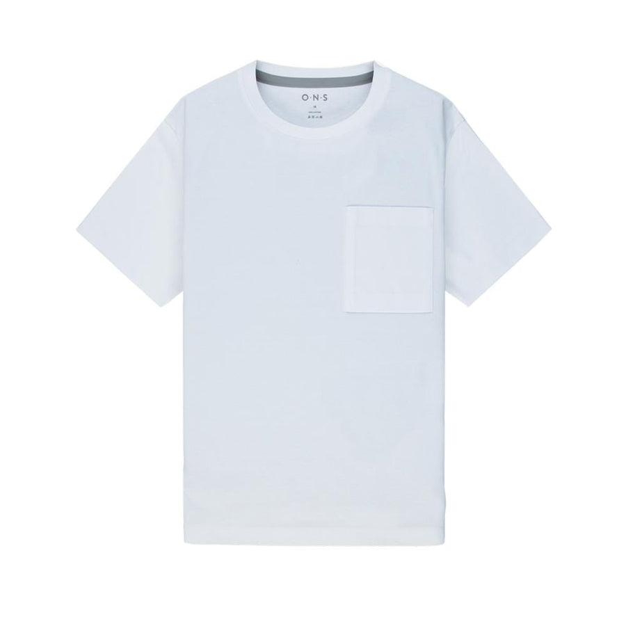 SS Tee Baseile Pocket Crew Neck White