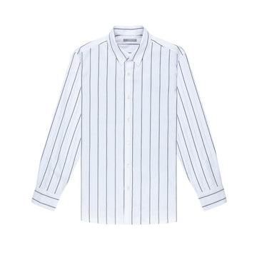 LS Shirt Fulton Wide Stripe Oxford Grey Stripe
