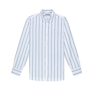 LS Shirt Fulton Wide Stripe Oxford Blue Stripe
