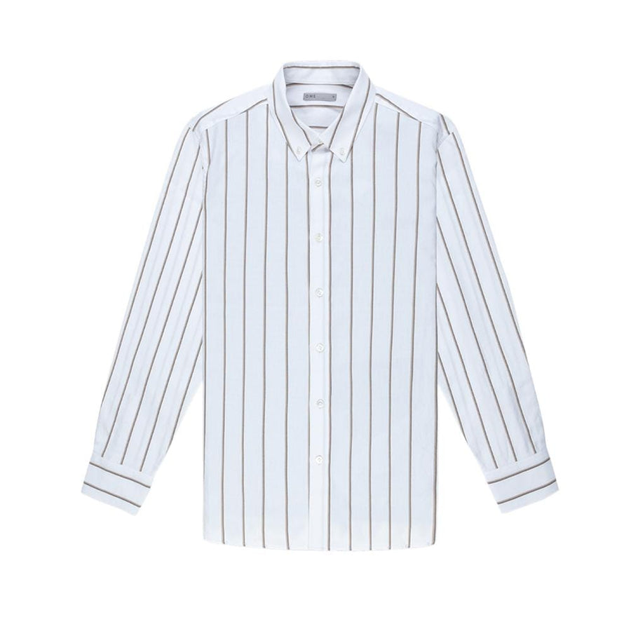 LS Shirt Fulton Wide Stripe Oxford Khaki Strip
