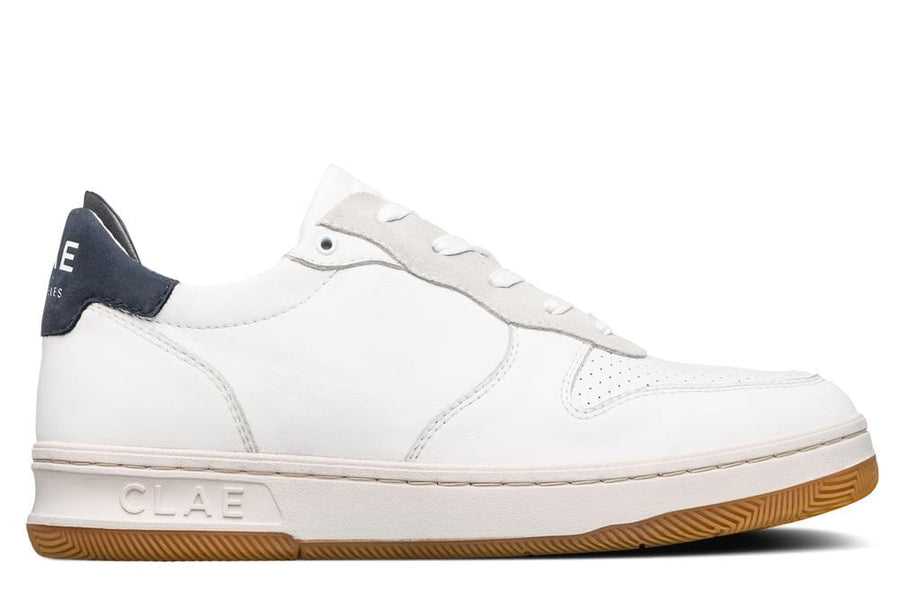 Malone White Milled Leather Navy