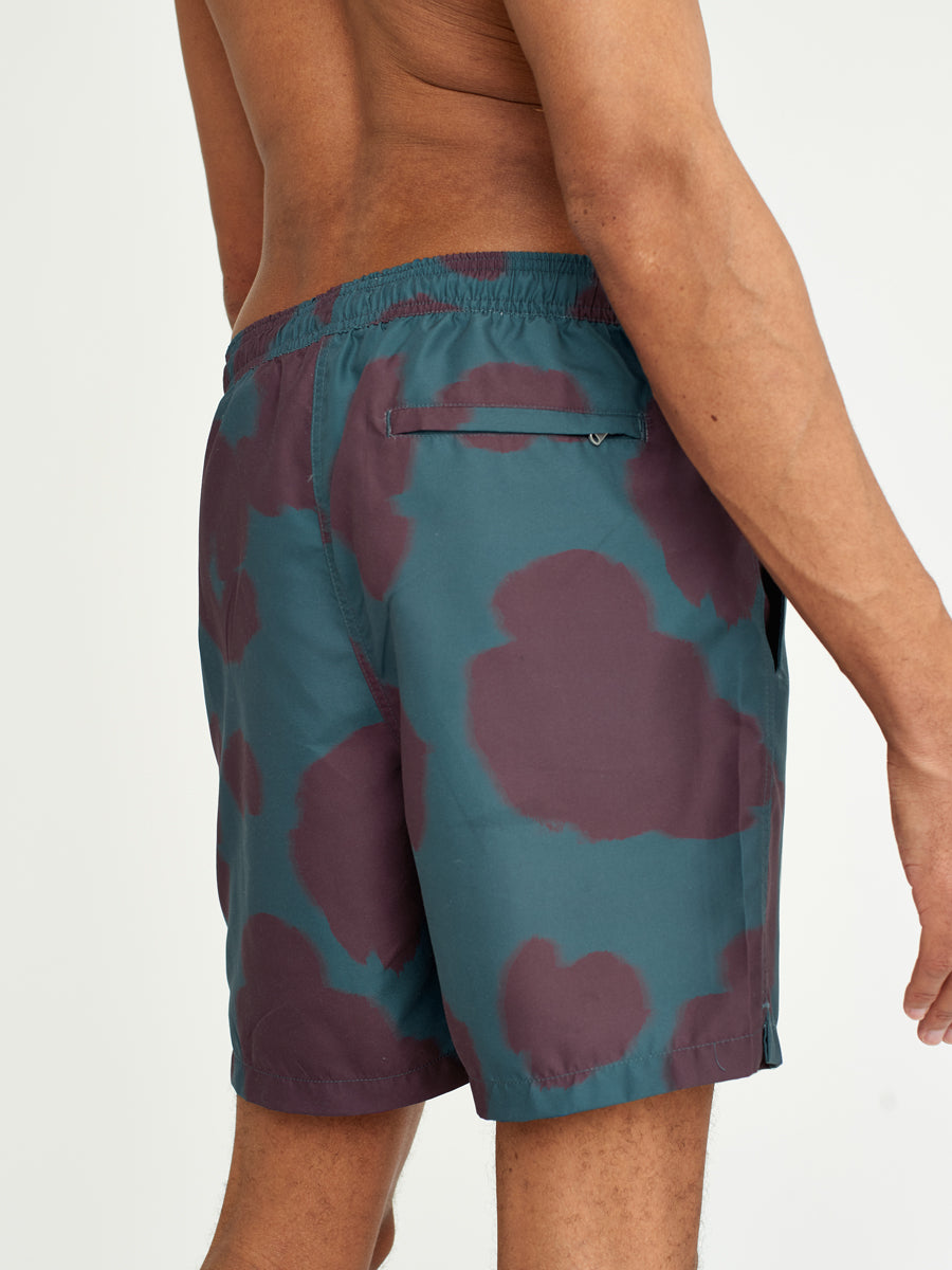 Noden Swimwear Teal/Burgundy Poppy Print