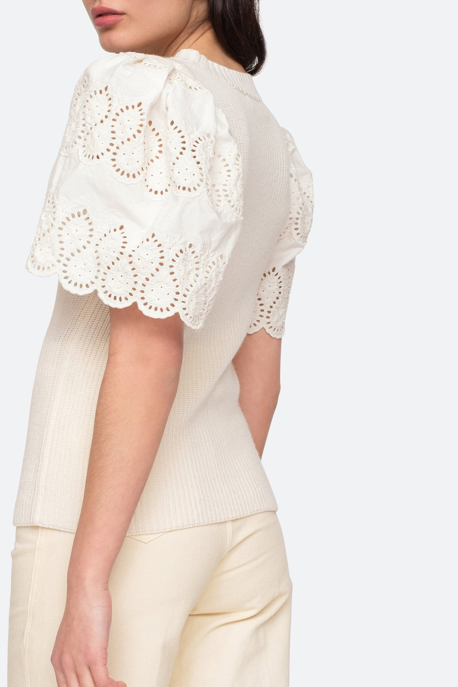 Nadene Lace Combo Sweater White