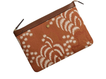 Ms Pouch Large Palm Jacquard/Cuoio