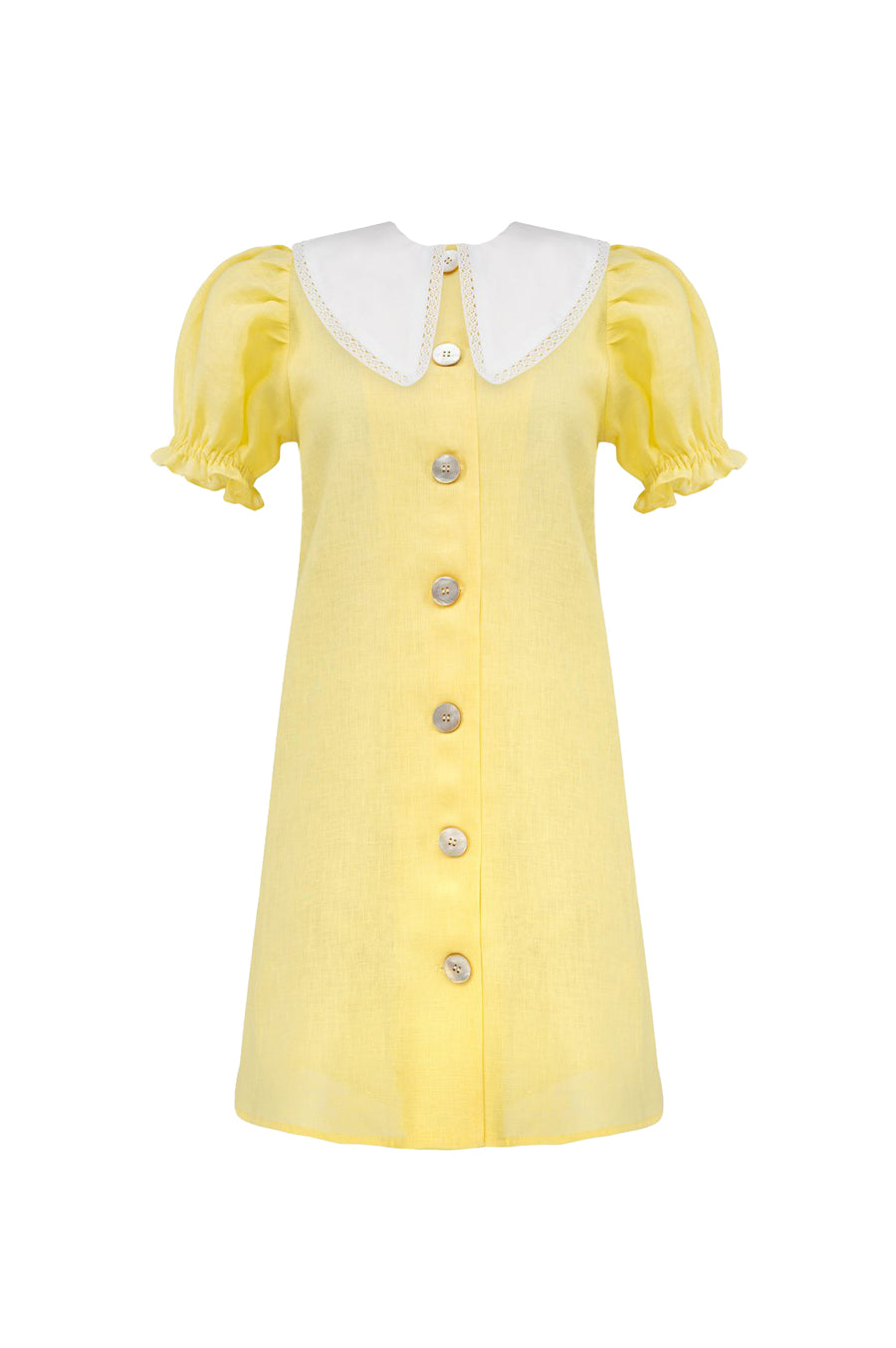 Marie Linen Dress In Lemon
